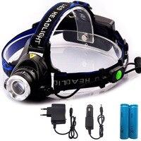 Nuovo Arrivo Xml T6 Ha Condotto il Faro 2000 Lumen Proiettore Impermeabile Testa Torch + Car charger + AC charger + 18650 batterie