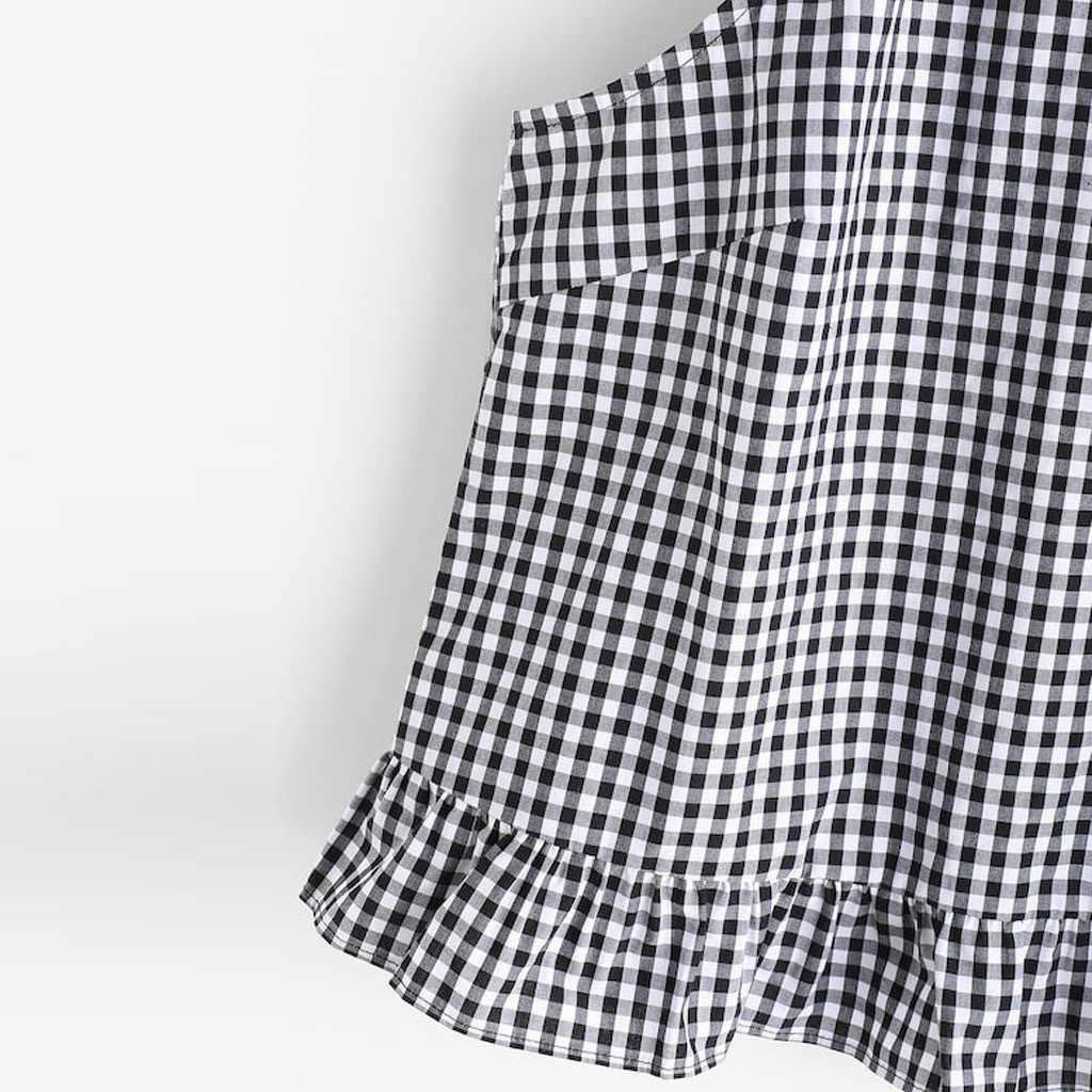 オーファム女性ノースリーブタンクトップ夏カジュアル 2019 ギンガムケリ鍵穴バックフリルホルタータンクトップスファッションストリート