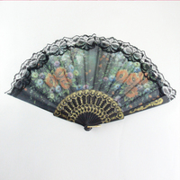 Hot Selling Silk Hand Held Fan Bamboo Folding Fan Printed Plastic Is Simple And Modern GYS901