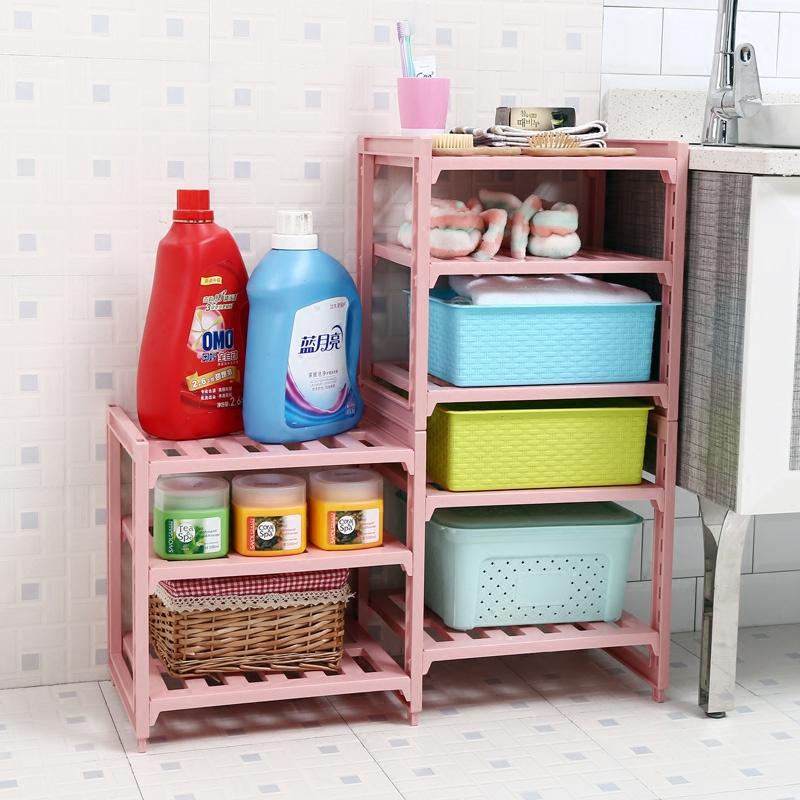 a pi strati di plastica scaffalature cucina bagno mensola rack di stoccaggio quarti impilabile rack di