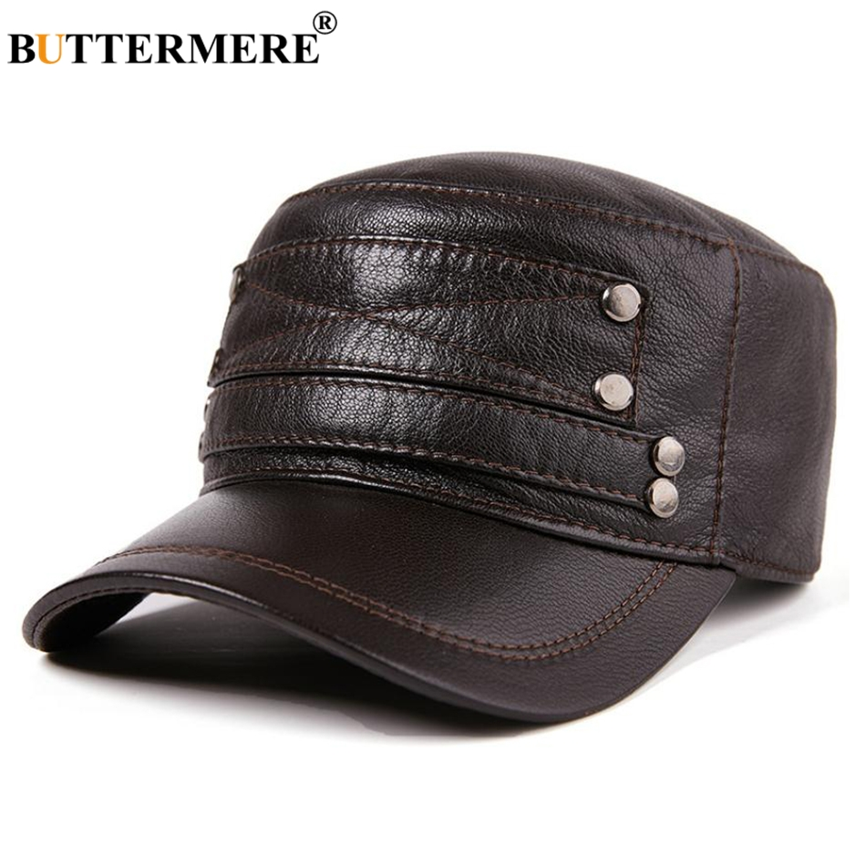 BUTTERMERE Mens Genuine Leather Hat Military Style Brown Navy Captain Caps Male Adjustable Luxury Brand Winter Army Caps Sailor in Men 39 s Military Hats from Apparel Accessories