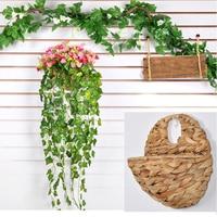 אחד להגדיר פרחים מלאכותיים משי דייזי ואייבי עם סל תלוי קש Decroative לחתונה בבית מלון צמח ירוק
