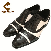 SIPRIKS Mens Black White Full Brogue Shoes Unique Mens Formal Shoes Light Brown Genuine Business Leather