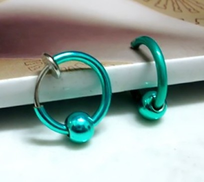 2015 Newest Style Hoop Earring Ear Clip Cuff Elegant Punk Men Jewelry Boy Mixed Colors Ball Fake NoseRing