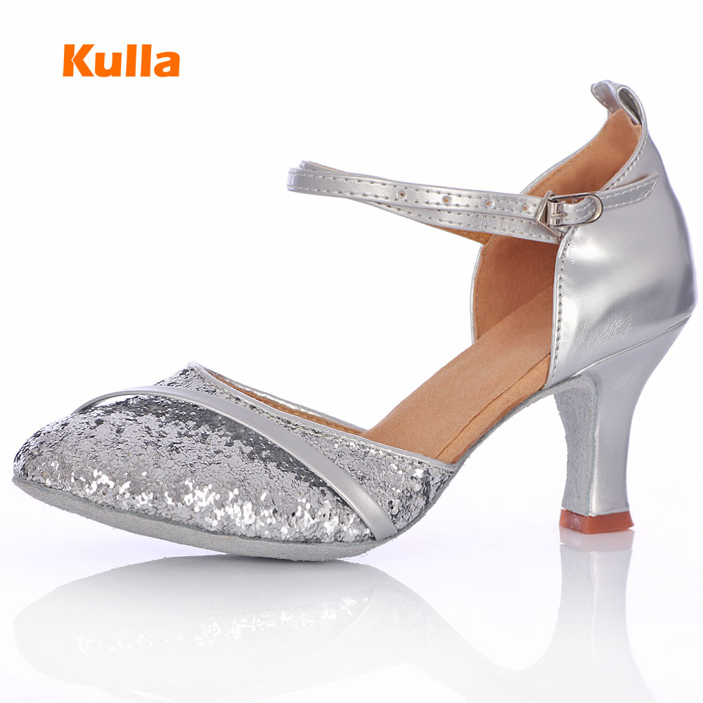 KULLA nouvelle arrivée ruban talon salle de bal tango latine danse chaussures pour femmes danse salsa chaussures à talons hauts adulte doux semelle L50