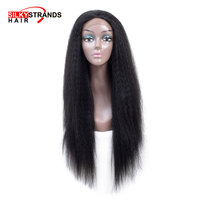 Long Yaki Straight lace front wig synthetic Silky Strands African American Natural Look Lace Front Female Wig
