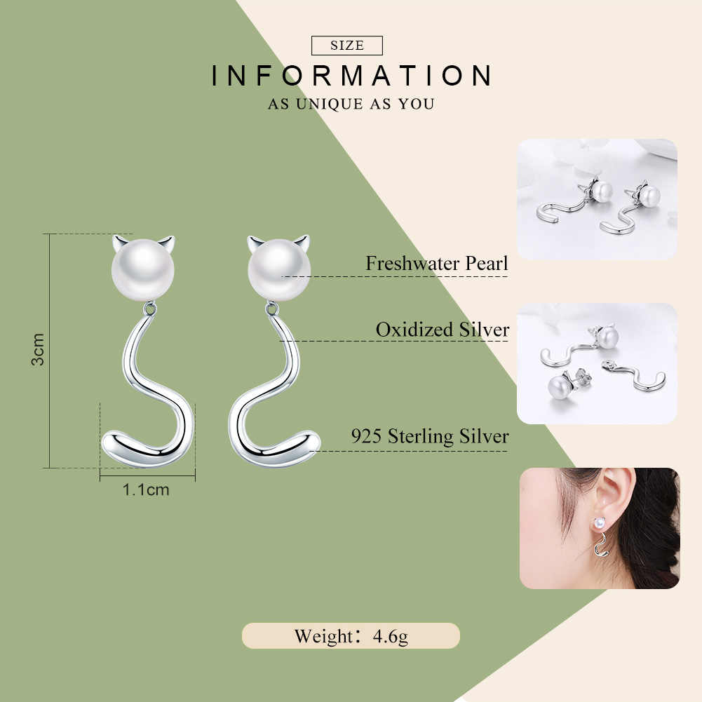 BAMOER Authentic 925 Sterling Silver Cute Cat Pussy Tail Stud Earrings for Women Sterling Silver Earrings Jewelry Gift SCE363