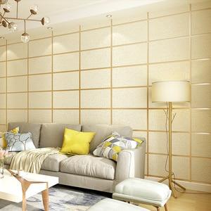 Image 3 - Nowoczesny wzór geometryczny marmurowa krata 3D stereoskopowa tapeta z tkaniny salon tło pod telewizor rolki tapety