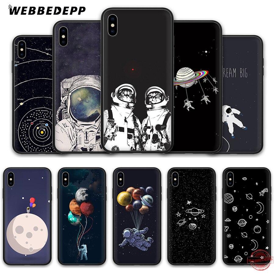 WEBBEDEPP Astronauta Espaço Exterior Caso Silicone Suave para Apple iPhone 11 XS Pro Max XR X 8 7 6S além de 5S SE 8 7Plus Plus 11Pro Casos