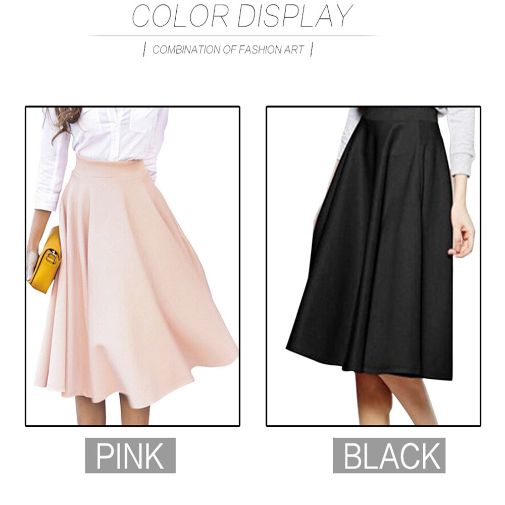 2016 New Simple Solid Color Empire Peach Pink/Black Pleats A Line Ladies Flared High Waist Midi Skirt For Women