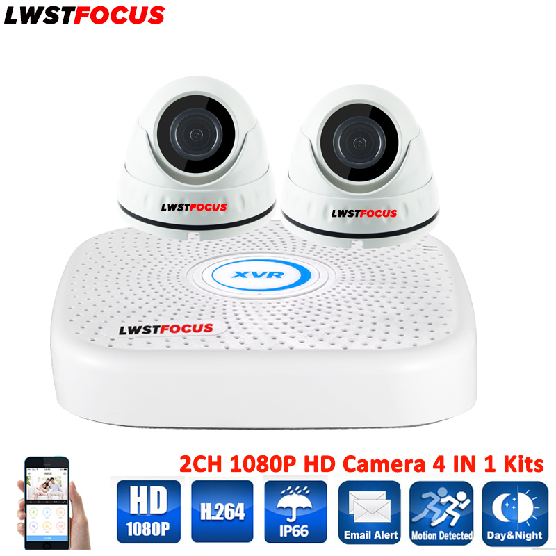 LWSTFOCUS 4CH AHD 1080N DVR Security Camera System 2PCS 1080P Waterproof AHD Dome Security Camera CCTV Home Surveillance Kits forman g just one includes just one day just one year and just one night