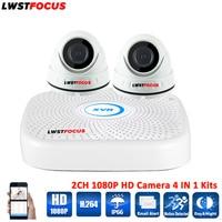 LWSTFOCUS 4CH AHD 1080N DVR Security Camera System 2PCS 1080P Waterproof AHD Dome Security Camera CCTV