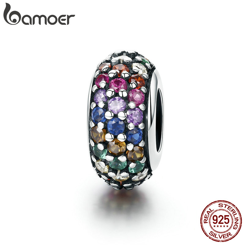 BAMOER Fashion New Genuine 925 Sterling Silver Rainbow Colorful Zircon Spacer Beads fit Charm Bracelet DIY Jewelry Making SCC583 bamoer romantic new 925 sterling silver i love you forever engrave spacer beads fit charm bracelet