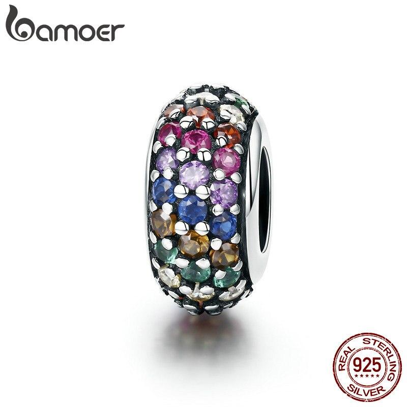 BAMOER Moda de Nova Genuine 925 Sterling Silver Rainbow Colorido Zircon Spacer Beads fit Charm Bracelet Jóias DIY Fazendo SCC583
