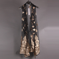 Summer Metrosexual long vest are non mainstream embroidery shawl cardigan sleeveless vest translucent personality
