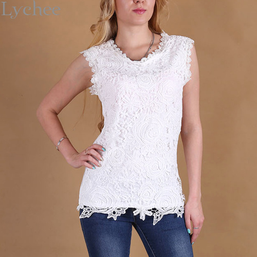 OL Fashion Cute Summer Women Lace Tank Top Floral Embroidery Knitted Basic Sleeveless Tank