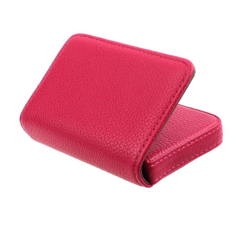 SOSW-Exquisite Magnetic Attractive Card Case Business Card Case Box Holder Rose Red