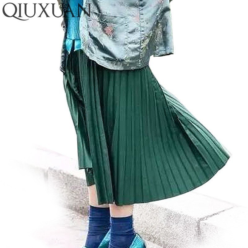Women Fashion High Waist Pleated Solid Color Ankle Length Skirt All-match Chiffon Clothing Lady Casual Stretchy Thicken Skirts #4