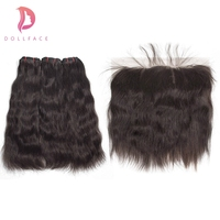 Dollface бразильские виргинские волосы пучки с фронтальным натуральным прямым волнистые пряди волос с фронтальным расширением волос Бесплатн