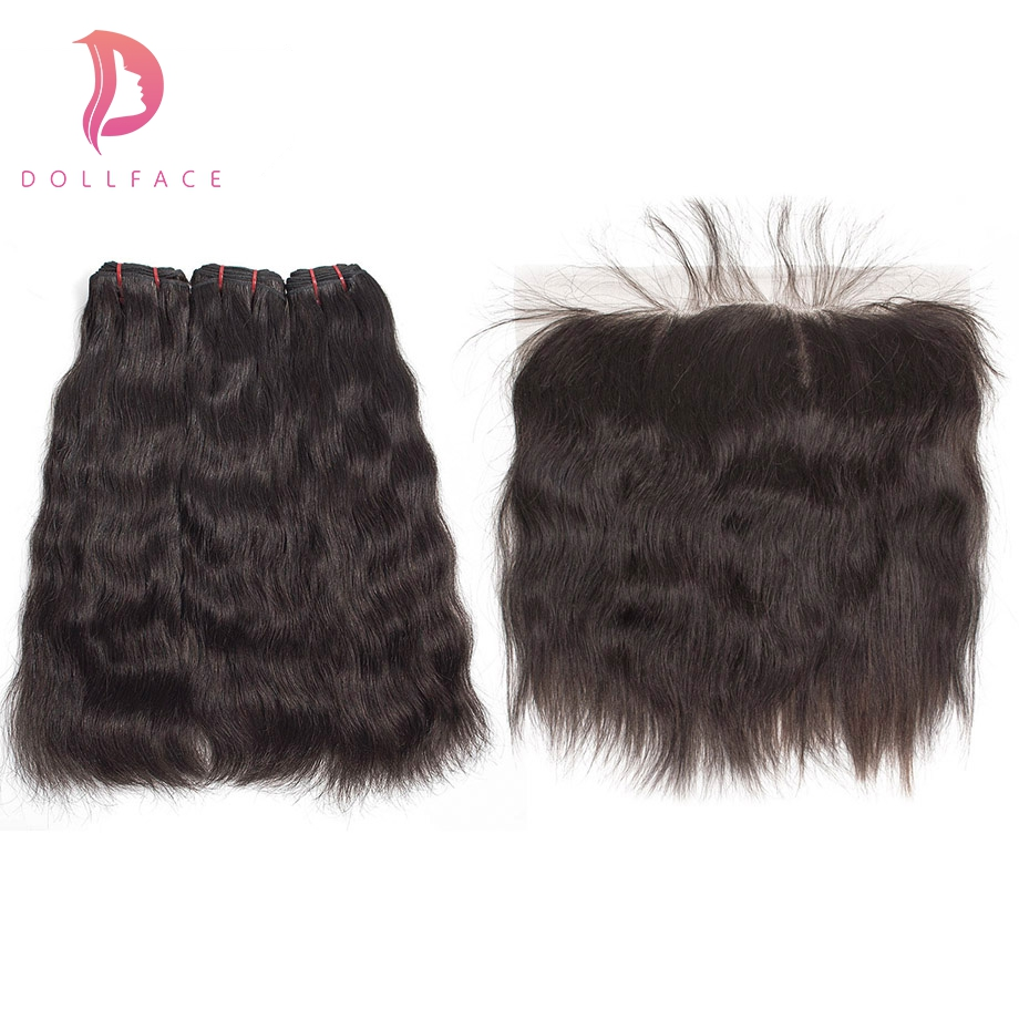 Dollface Brazilian Virgin Hair Bundles With Frontal Natural Straight Raw Hair Bundles With Frontal Hair Extension Free Shipping