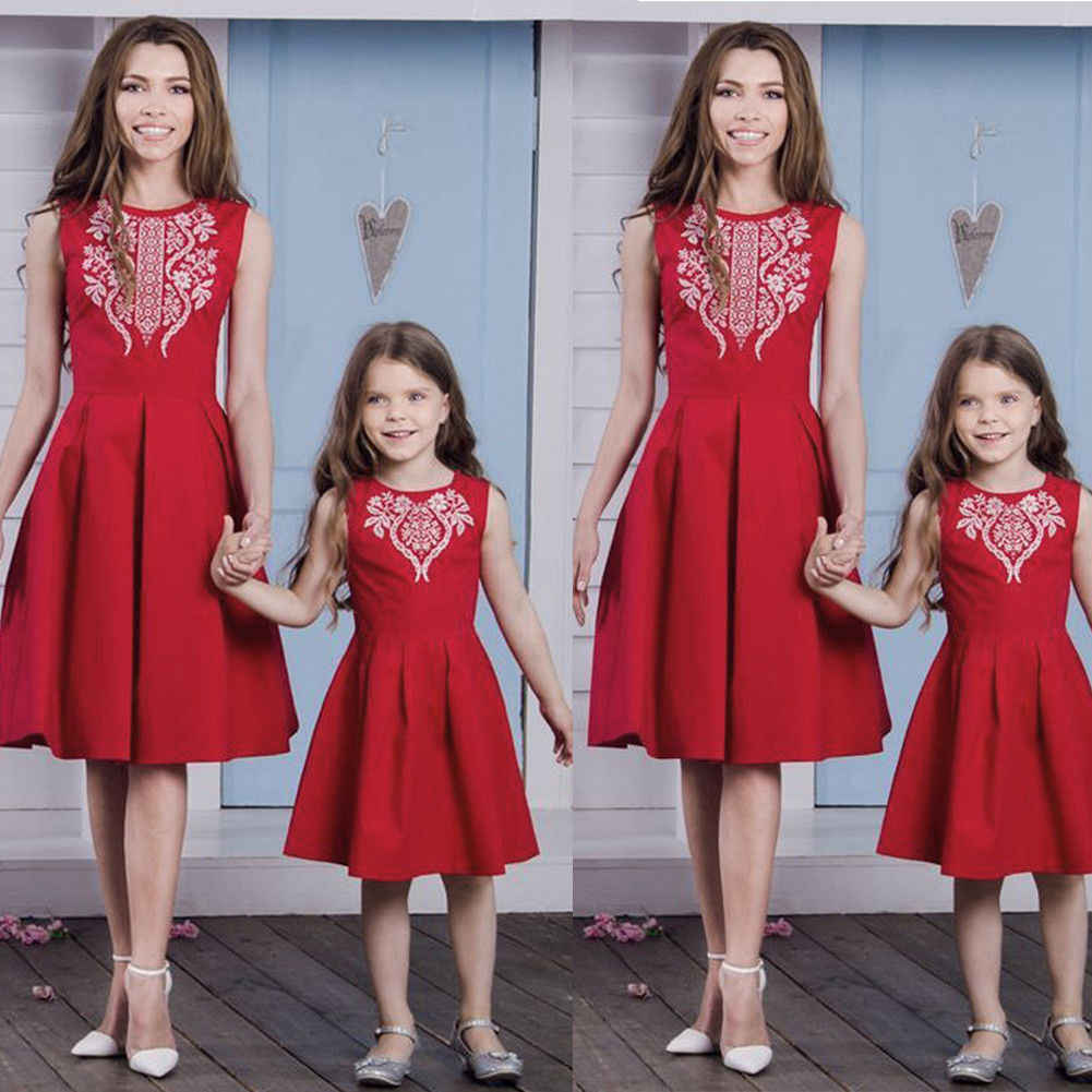 f0ae71795dc1 ... 1-6T Mother daughter dresses Family Parent Child Outfit Womens Party  Pageant Bridesmaid Wedding Fromal ...