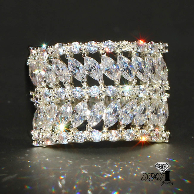 YaYI Jewelry Fashion Princess Cut 4.5CT White Zircon Silver Color Engagement Rin