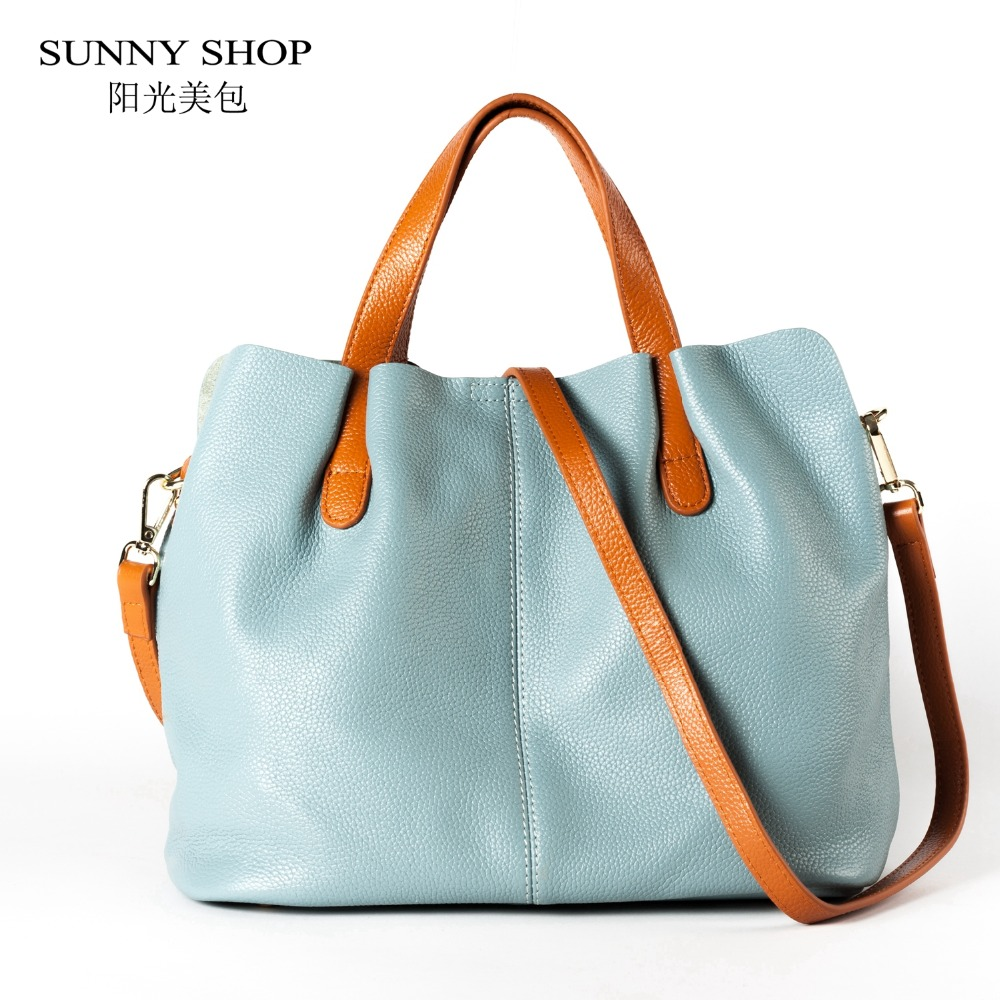 SUNNY SHOP Genuine Leather Top Handle Bag Elegant Simple Women Shoulder Bags Natural Skin Crossbody Bag For Ladies Handbag Set