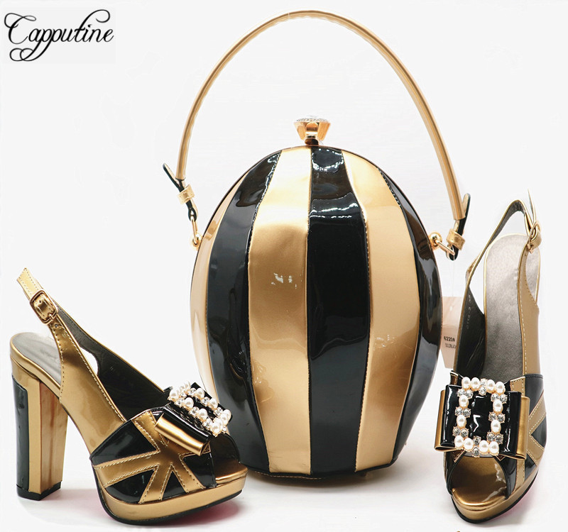 Capputine New African PU Shoes And Bag Set 2018 Italian Pretty High Heels Shoes And Bags To Match For Party 6Colors Stock G55 capputine african style shoes and bag to match high quality italian shoes and bag set nigerian party shoe and bag set wedding