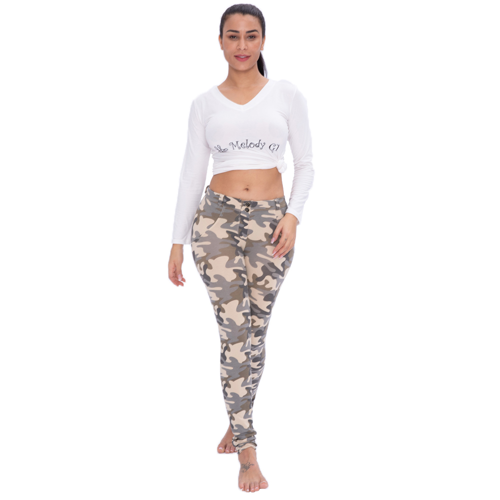 Melody Plus Size Leggings Women Camouflage Spandex Super Stretchy Sexy Workout Leggings Middle Waist Push Up Leggings Fitness
