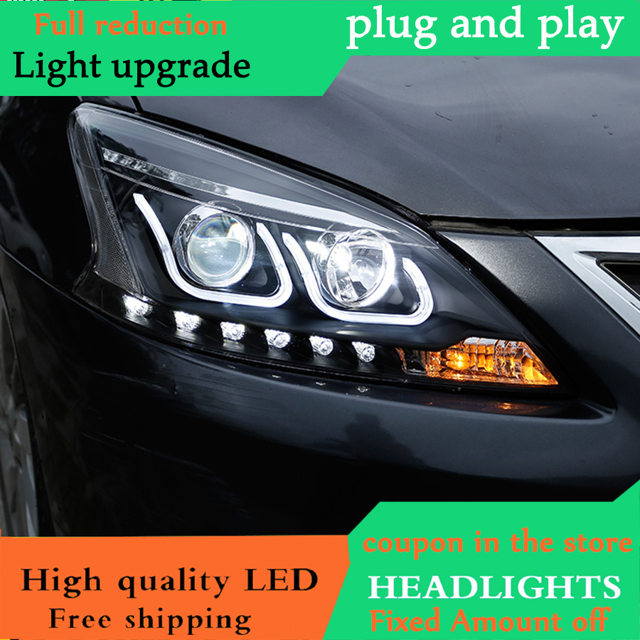 Car Styling for Nissan Sylphy Headlights 2012 2015 Sylphy Head Lamp LED Headlight DRL Lens Headlamp