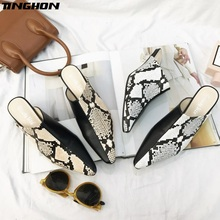 купить TINGHON Clear Heel Slippers Women Pointed Toe Shoes Women Slides Fashion Mules Ladies Heel Slippers Female Dress Shoes Spring по цене 1451.25 рублей
