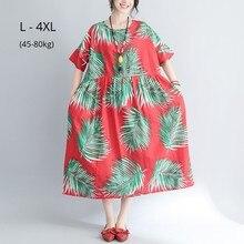 Fashion Women Short Sleeve Summer Dress Ladies Leaves Print Cotton Linen Loose Clothing Plus Size 4XL 3XL 2XL Beach Maxi Dresses cotton linen leaves print shirt