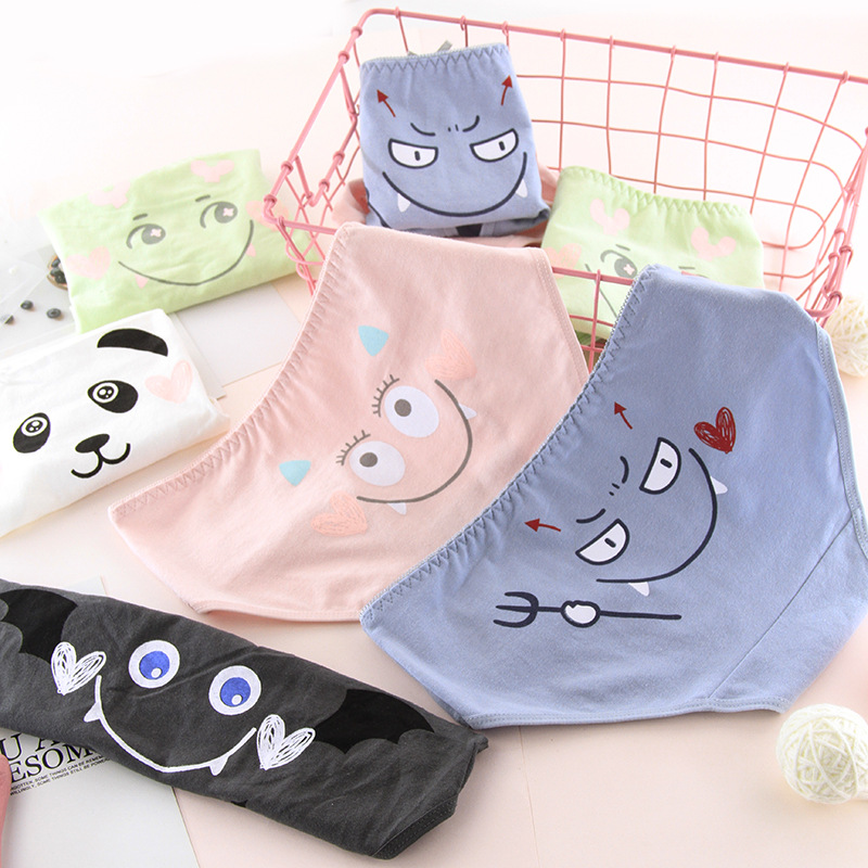 SP&CITY Cute Emoji Cartoon Underwear Women Panda Seamless Cotton   Panties   Soft Breathable Girls Physiological Briefs Lingerie