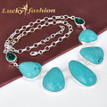 Luckyshine New Arrive Latest Style Women Jewelry Accessories Fashion Huge Turquoise Silver Plated Jewelry Statement Necklace