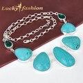 Luckyshine Nueva Llega El Último Estilo Mujeres Accesorios de La Joyería de Moda Enorme Joyería Plateada de Plata de la Turquesa Collar de la Declaración