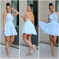 Sexy Light Blue Lace Homecoming Dresses 2018 A Line Halter Off Shoulder Open Back Mini Length Graduation Dress Short Dresses