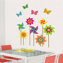 Colorful Windmills Wall Decal Home Sticker Paper Art Picture DIY Murals kids Nursery Baby Room TV Background Decoration