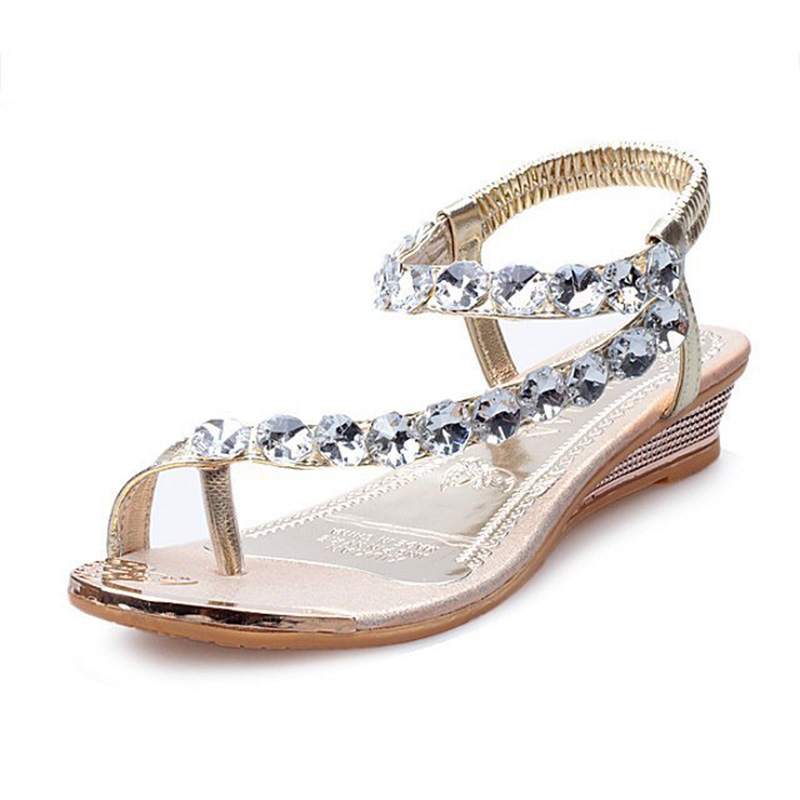 Summer shoes Summer Sandals Bling Rhinestone Flats Women Platform Wedges Sandals Fashion Flip Flops Comfortable Shoes Woman phyanic 2017 gladiator sandals gold silver shoes woman summer platform wedges glitters creepers casual women shoes phy3323