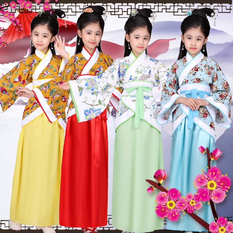 Traditional Ancient Clothing Fairy Chinese Folk Dance Dance Costumes Hanfu Dress Girls Children Kids Tang Dynasty Clothes DN2578