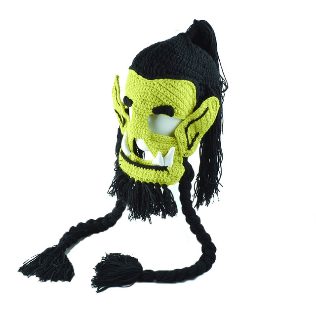 Fancy Monster Horde leader Thrall winter hat cool crochet Hallowmas WOW style knitting masked hat  for boys and girls