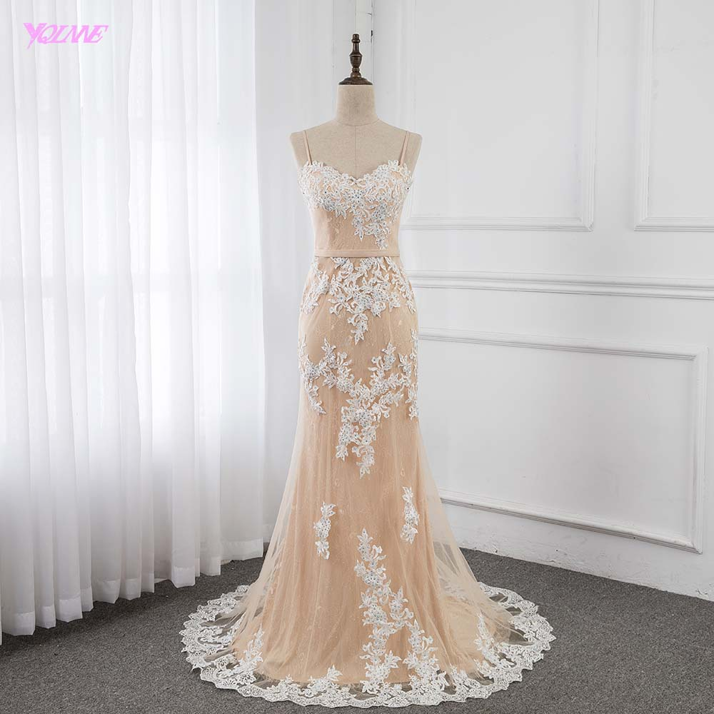 Elegant Spaghetti Champagne Long   Prom     Dresses   Lace Appliques Beaded Mermaid Formal Gowns