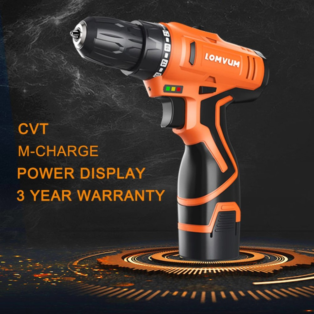 12V Double Speed Electric Drill Rechargeable Mini Cordless Handheld Screwdriver Drill