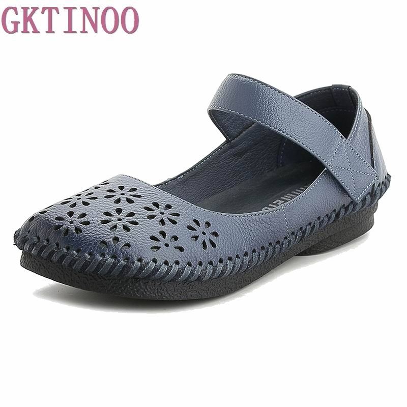 Summer Shoes Women 2018 Fashion Genuine Leather Flat Shoes Woman Casual Comfortable Flats Soft Loafers Women Shoes women flats casual shoes 2017 summer sandals pointed toe fashion shallow rivet flower flat shoes woman loafers cool comfortable