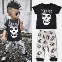 2017 New Fashion Kids Clothes Sets Boys Human Skeleton Head T Shirts Pants Children S 100