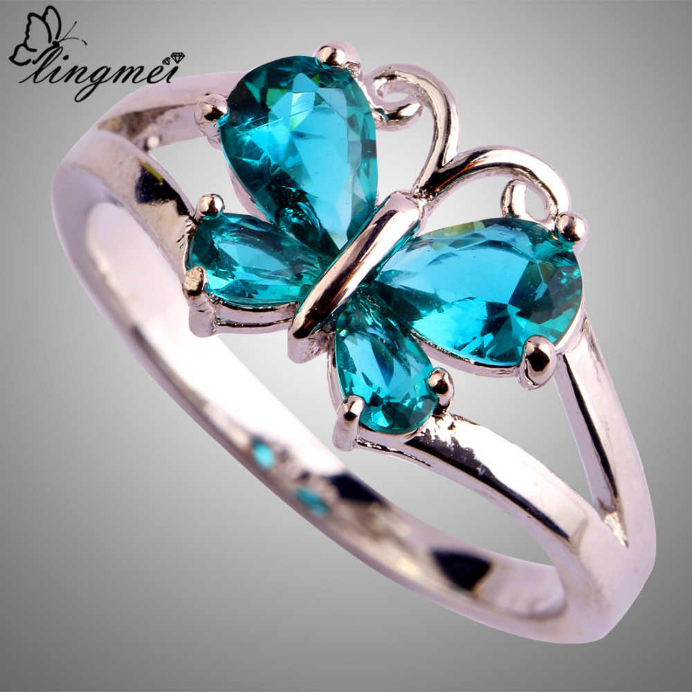 Lingmei סיטונאי מעודן קוקטייל פרפר תכשיטי זירקון כסף אופנה 925 טבעת גודל 6 7 8 9 10 11 חתונה מתנות