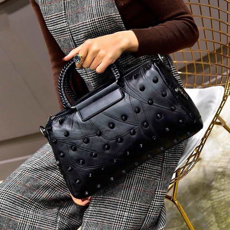 Borse Libero Tempo Signore Bag black2 Borsa Shopping Spalla Totes A Pelle Di Donne Rivetto Cuciture Semplice Grande Capacità Il Per Pecora Cuoio Delle Black1 Etfpwwq