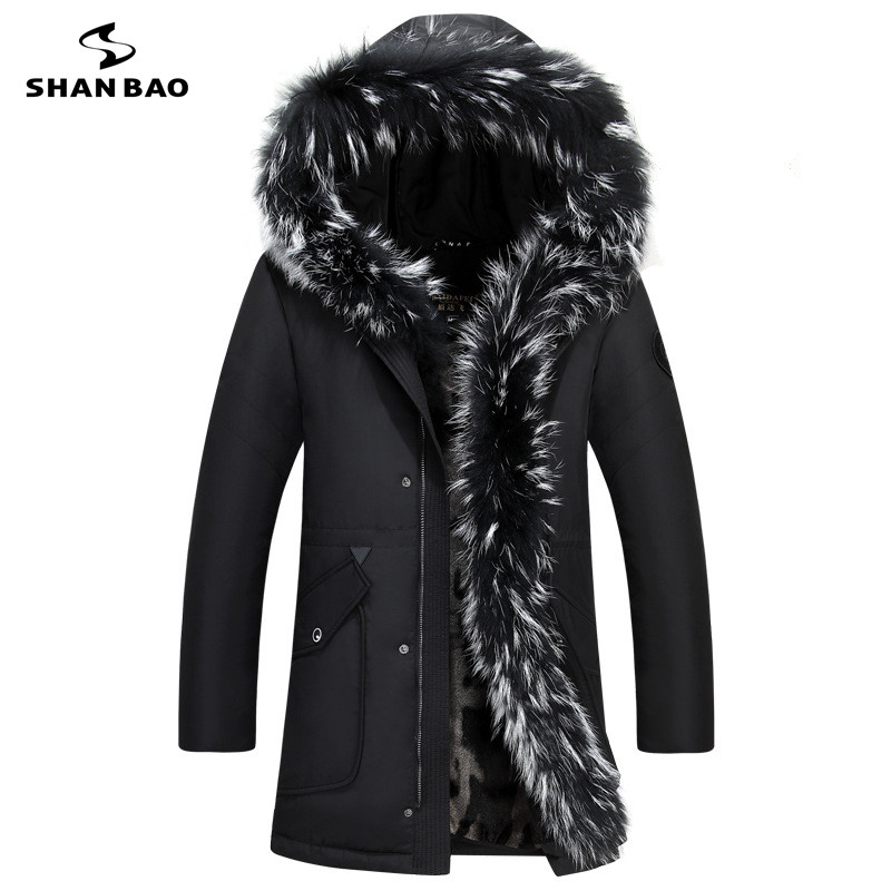 2017 winter new luxury high quality fur plus velvet thickening warm mens casual hooded down jacket large size parka coat 8896