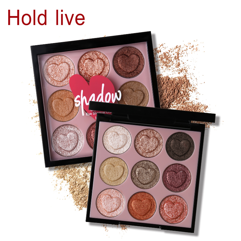 HOLD LIVE 9 Colors Heart Shaped Shimmer Eyeshadow Palette Glitter Eye Shadow Powder Pigment Smooth Warm Natural Nude Cosmetics цена 2017