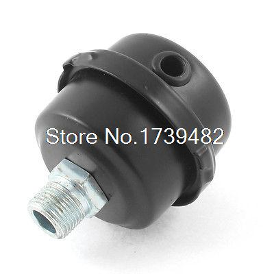 Black Metal 3/8BSP 16mm Thread Dia Air Compressor Intake Filter Muffler Silencer 5 pcs 0 78 thread black plastic compressor silencer