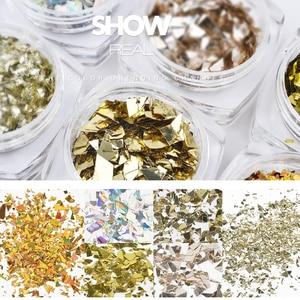Image 5 - 6 Doos/partij Nail Art Glitter Poeder Nail Folie Decoratie Laser Holografische Nail Folie Sticker Glas Transfer Folie Decal